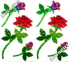 ~ Sparkle Elegant Red Pink Rose Stem Flowers Hambly Studios Glitter Stickers ~