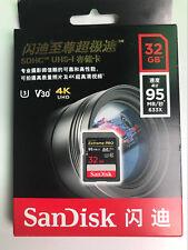 SanDisk 32GB 95MB/s Extreme Pro SDHC Flash Memory Card SD HC UHD UHS-I U3 V30 4K
