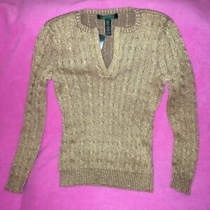 WOMENS GOLD SPARKLE V-NECK SWEATER by RALPH LAUREN PETITE SIZE XS  NEW~FREE SHIP