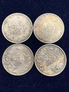 British India Rupee Silver KG V 1918/19  4 Coins in XF Condition