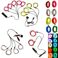 EL Wire 1M Glow String Strips Neon LED Light + Controller + Inverter Connector