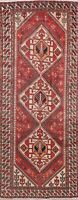Antique Geometric Bakhtiari Oriental Wide Runner Rug Wool Hand-Knotted 5'x10'
