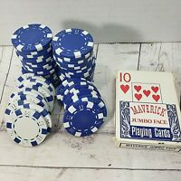 VTG 60 pcs Casino Blue Poker Chips+Maverick Casino Playing Cards Vegas Style