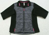 Ideology Gray Jacket Coat Women's Zip Up Solid Polyester Fleece Large Woman's