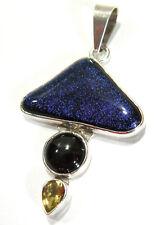 Charles Albert Dicroic Glass Red Garnet & Citrine Sterling Silver 925 Pendant