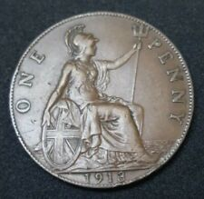 1913 GREAT BRITAIN PENNY 107 YEARS OLD KING GEORGE V COIN KM# 810 XF
