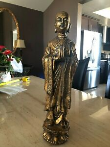 """Chinese Antique Gold Plated (washed) Lohan Statue """"20"""" (H) #MD074"""