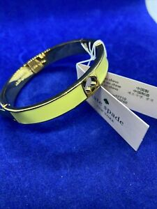 Kate Spade New York Gold-Plated Spade Hinged Bangle Bracelet Yellow New With Tag
