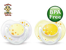 Avent Nighttime Pacifier 0-6 months, 2 pack, yellow, BPA Free