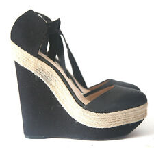 Size 9.5/10 (41) - ZARA Black High Heel Ankle Tie Espadrille Shoes