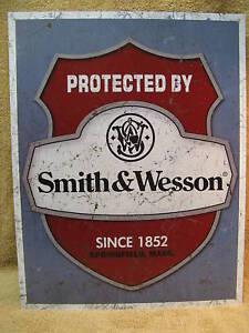 Smith & Wesson Protected Tin Metal Sign Decor  NEW Gun