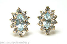 9ct Gold Blue Topaz Cluster Stud earrings Made in UK Gift Boxed