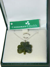 Shamrock Pendant Connemara Marble Sterling Silver 18 chain Necklace Green JW1054