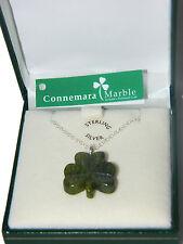 Shamrock Pendant Connemara Marble Sterling Silver 18 chain Necklace Green JW1054