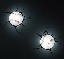 3D BASEBALL Deco Wall LED Night LIGHT +CRACK Stickers Kids/Sports Room Decor MLB