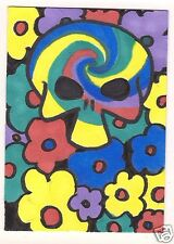 ACEO Original Pop Art Colorful Hippie Flowers Skull painting and Artist Signed