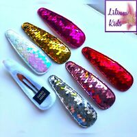 Big Sequin Hair Clips/Slides/Hair Accessory Barrette Oversized Large Shiny - 9cm