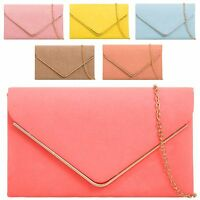 Ladies Designer Suede Envelope Style Clutch Bag Evening Bag Handbag Purse K1616