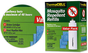 THERMACELL Mosquito Repeller REFILLS - Value Pack with 4 Cartridges 12 Mats
