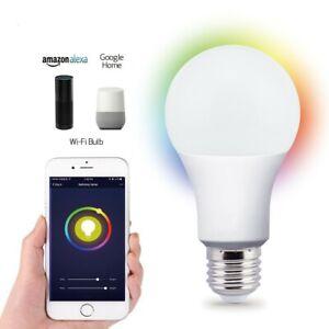 LED Wifi Smart Light Bulb 9W Dimmable RGBW Lamp E27 For Alexa Google Home UK