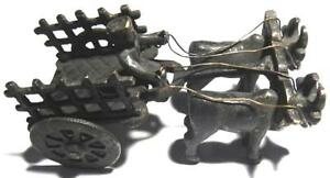 Antique Vintage Style Handcrafted Brass Bull Ox Cattle Pull Carts With Rider