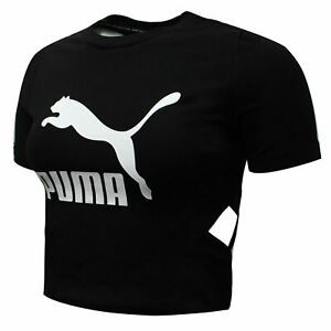 Puma Womens Classics Logo Cut Out Crop Top Black T-Shirt 579208 01