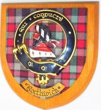 More details for vintage old scottish carved clan borthwick tartan plaque crest shield z