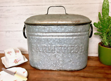 Vintage Style Metal Lidded Storage Container Large Tin Distressed Kitchen Bread