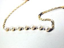 14Kt Solid Gold Genuine Pearl Bracelet