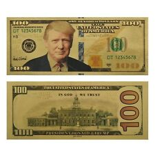 DONALD TRUMP $100 DOLLAR BANKNOTE 24k GOLD PLATED BANK NOTE