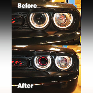 Dodge Challenger Head Light Intake Ring Color Matched PX8 Pitch Black