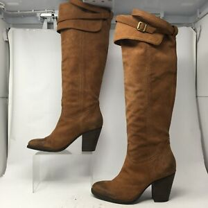 Vince Camuto Womens 7B Pull On Knee High Tall Riding Boots Block Heel Brown