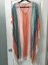 NWT $185 Roberta Roller Rabbit chasca Pompom Trimmed Caftan XS/S X-SMALL SMALL