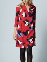 Boden Easy Notch Tunic Floral Red Tunic Dress Side Pockets - Sz US 4