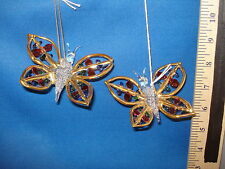 Butterfly Ornaments Red and Blue Crystal Set of 2 63067 217