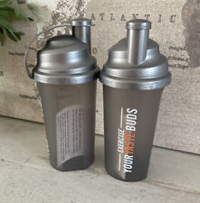Protein Works 700ml Shaker Bottle - Gym Pre/Post Workout Silver Smoke Grey