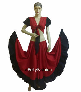 Red& Black Cotton top + skirt Choli Belly Dance Costume Tribal Dress Gypsy Jupe