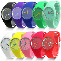 Geneva Women Ladies Soft Jelly Silicone Band Quartz Sports Girl Wrist Watch