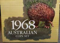 1968 Australia coin mint set unc with rare 2c no sd