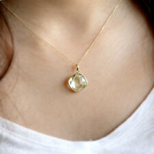 Natural Green Amethyst Fine Necklace Pendant Cushion Cut 18k Yellow Gold