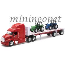 NEW RAY 10283A PETERBILT MODEL 387 FLAT BED HAULER w TWO FARM TRACTORS 1/32 RED