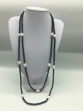 string Black Onyx Faceted Sparking And White Freshwater Pearl Necklace Long 50""