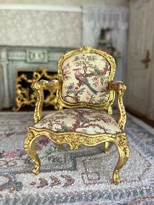 Vintage Miniature Dollhouse Artisan Robert Dawson Gilt Carved Wood Silk Chair