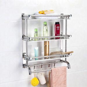 Wall Mounted Kitchen Bathroom Storage Shelf Spice Rack Shower Caddy Organizer UK