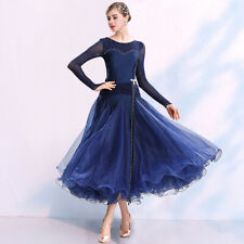 Latin Ballroom Dance Dress Modern Salsa Waltz Standard Long Dress#NN107 4 Colors