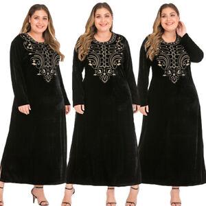Velvet Embroidery Abaya Muslim Long Sleeve Maxi Dress Robe Islamic Kaftan