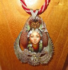 OWL & GIRL Pendant Stone Shell SHENSHIN hand painted beaded necklace signed GIFT
