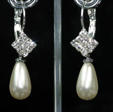 Leverback Pear Stone Silver Plated Costume Earrings