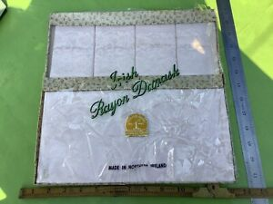 Old RETRO VINTAGE CREAM IVORY IRISH RAYON DAMASK TABLE TRAY CLOTH 4 NAPKINS BNIP