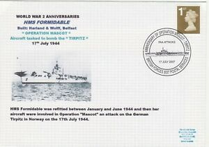 GB Stamps Navy Souvenir Cover WWII Anniversaries HMS Formidable, Tirpitz  2007